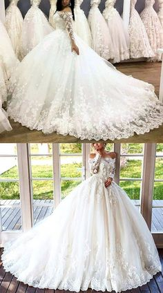 2019 Brautkleider Lace Long Sleeves Tüll Off Shoulder Ballkleider - alinanova - Top Wedding Dresses, Wedding Dress Trends, Princess Wedding Dresses, Wedding Gowns, Wedding Lace, Tulle Ball Gown, Ball Gowns, Lace Dress With Sleeves, Bridal Gowns