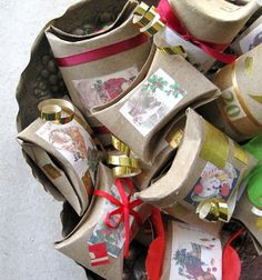 Pillow gift boxes from toilet paper or paper towel rolls