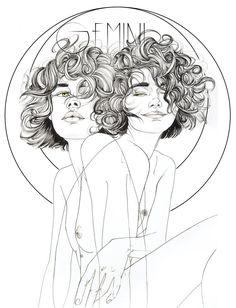 Impresión giclée de Bellas Artes del Zodíaco Géminis Arte de | Etsy