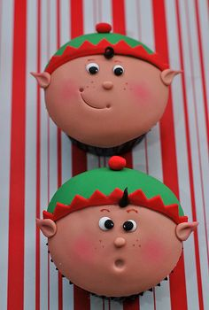 Elf Cupcakes -Jennifer Worthington I want these for X-Mas :)