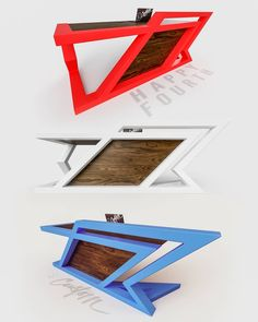 Red, White or Blue? 🧨 We think our designs look great in many colors. What do you think⁉️ Looking for a custom… Office Table Design, Office Furniture Design, Welded Furniture, Steel Furniture, Modern Desk, Modern Table, Modern Glass Coffee Table, Wooden Sofa Designs, Custom Desk