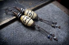 rustic carved horn barrel • rustic ethnic • African excavation beads • earthy • tribal bone heishi beads • spiral • black • artisan earrings by entre2et7 on Etsy