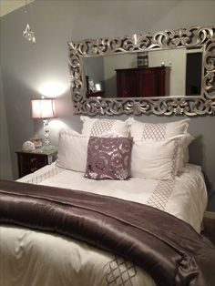 Bed without headboard ideas decoration home decor bedroom nice use of the mirror to take away from no headboard bed headboard diy ideas Cheap Home Decor, Diy Home Decor, Room Decor For Teen Girls, Headboards For Beds, Headboard Ideas, Mirror Headboard, Grey Headboard, Mirror Bedroom, Bedroom Curtains