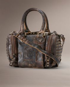 love this seriously distressed, vintage leather *brooke small satchel*.......in chocolate....by frye...