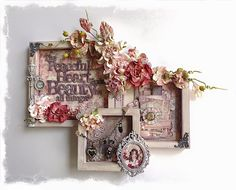 I made this using the Prima Tales of You and Me collection More details and closeups here http www scrappingfancy com 2016 03 peaceful heart wall decor html Thanks for looking Altered Canvas, Altered Art, Mixed Media Collage, Mixed Media Canvas, Diy And Crafts, Arts And Crafts, Paper Crafts, Heart Wall Decor, Picture Frame Decor