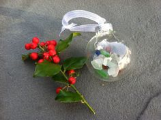 Glass Ornament filled with Sea Glass from Maine with white sheer ribbon  https://www.etsy.com/listing/173559744/glass-ornament-filled-with-sea-glass?ref=listing-shop-header-1
