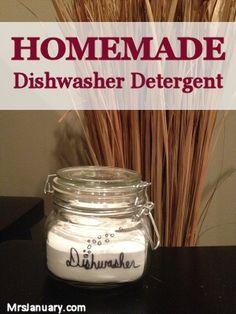 Homemade Dishwasher Detergent via MrsJanuary.com #diy #frugal