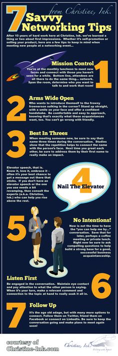 7 Savvy Networking Tips. Infographic: Business Networking Tips… Career Development, Professional Development, Business Planning, Business Tips, Business Networking, Networking Events, Start Ups, Career Advice, Business Opportunities