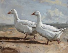 Charles Church 'Two Geese' oil on canvas