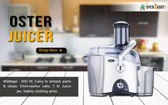 Make your work easy in kitchen with new Oster Juicer,Easy to detach parts & clean, Dishwasher safe with multiple features.Visit http://open2kart.com