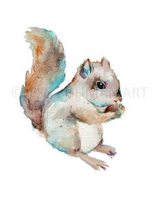 Squirrel Watercolor Painting Print Squirrel by ArtbyJessBuhman