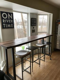 Live Edge Bar Table Tops - Black Walnut With Industrial Metal Table Legs Table Bar, Bar Height Table, Pub Table Sets, Diy Table, Dining Table, Kitchen Bar Counter, Kitchen Countertops, Counter Tops, Tall Kitchen Table