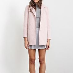 Pink Longline Coat LOWEST $$ NWT. Beautiful wool/polyester blend in a dusty pink. Fully lined (100% polyester).  Tailored with a notched lapel and 2 hidden snap buttons. Dry clean only.  Length is 30.5 inches. Forever 21 Jackets & Coats