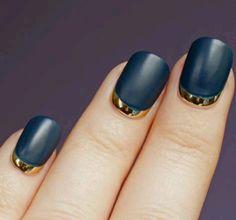 Gold & Navy Crescent Nails