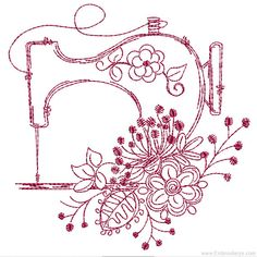 Grand Sewing Embroidery Designs At Home Ideas. Beauteous Finished Sewing Embroidery Designs At Home Ideas. Sewing Machine Tattoo, Sewing Machine Embroidery, Folk Embroidery, Learn Embroidery, Hand Embroidery Patterns, Vintage Embroidery, Vintage Sewing, Embroidery Stitches, Embroidery Sampler