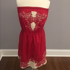 NWT red dress with cream color detail NWT strapless red dress with cream embroidery detail. Adorable for a summer BBQ. Twenty One  Dresses Midi