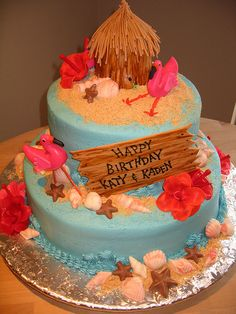Luau Birthday Cake - change to an anniversary cake but like the drift wood sign, would go with the other decorations I made up already :)