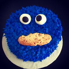 Cookie Monster themed Happy Birthday Cake