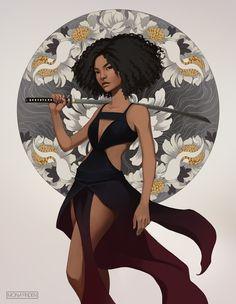 Black Girl Cartoon, Black Girl Art, Black Women Art, Art Girl, Black Anime Characters, Dnd Characters, Female Characters, Afro Samurai, Samurai Art