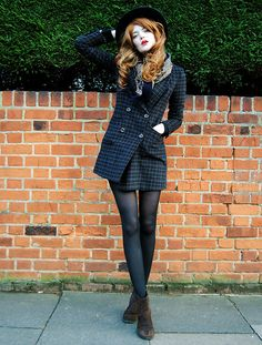 Cosette Munch - Miss Patina Capital Coat, Woolsworth Men's Paisley Scarf, Black Hat - Downtown Train