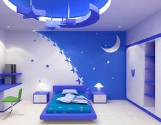 Многоуровневый натяжной потолок для детской комнаты позволяет создать уникальный антураж
