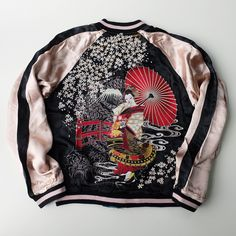 Classic Japanese Wagara Spring Cherry Blossoms Torii Shrine SAKURA Flowers Geisha Maiko Oiran Flight Bomber Souvenir Embroidery Sukajan Jacket (Size: M) - Japan Lover Me Store