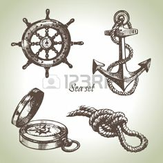Illustration of Sea set of nautical design elements. Hand drawn illustrations vector art, clipart and stock vectors. Scrapbooking Rose, Ship Wheel Tattoo, Anchor Drawings, Ship Drawing, Nautical Design, Nautical Theme, Free Vector Art, Traditional Tattoo, Traditional Flash