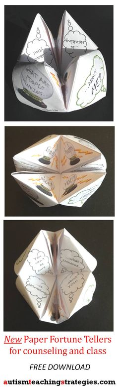 This Paper Fortune Teller, part of a new set of 3, helps children to explore automatic negative thoughts affecting social anxiety.  Tags: CBT, children, group activity, counseling.