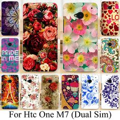 Soft TPU Hard plastic Painted Case for HTC ONE M7 802W 802D 802T (Dual Sim) Phone Case Cover Beautiful Flower  Rose Peony Case