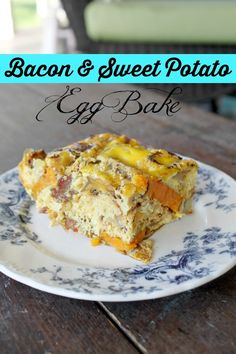 Pales bacon and sweet potato egg bake! Good alternative to traditional Christmas breakfast casserole.