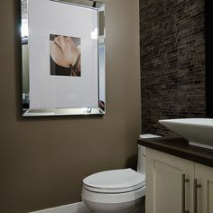 Tiled wall might be just what is needed in my water closet Powder Room Design, Wall Paint Colors, Contemporary Decor, Wall Tiles, Laundry Room, Home Projects, Vessel Sink, Kitchen Remodel, House Bath
