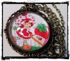 STRAWBERRY SHORTCAKE . Glass Pendant Necklace . by girlgamegeek, $11.11