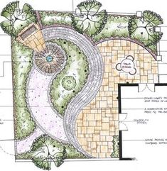 Varied materials and curves of garden paths and patios add interest in a small backyard.