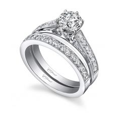 Coast Diamond Engagement ring (#LC0160) - A beautiful wedding set featuring a 6 prong setting for the center stone, and pave diamonds on the shoulders of the ring.