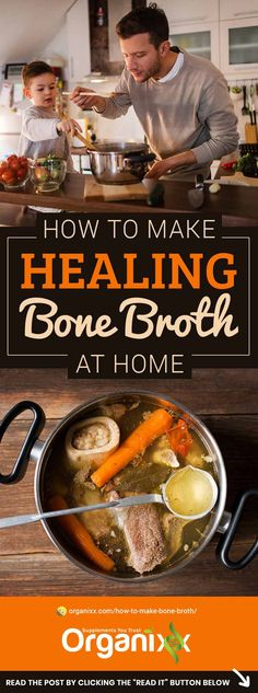 HOW TO MAKE BONE BROTH Did you know that bone broth has numerous healing benefits From eating bone marrow it improves gut health boosts the immune system for glowing skin. Bone Marrow Broth, Bone Broth Soup, Making Bone Broth, Homemade Bone Broth, Soup Recipes, Cooking Recipes, Beef Bones, Health Tips, Ideas