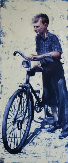 Buy My first bike., Oil painting by Igor Shulman on Artfinder. Discover thousands of other original paintings, prints, sculptures and photography from independent artists.