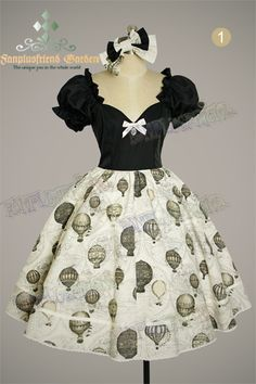 """Steampunk Lolita """"Fire Balloon Adventure"""" Corset Lacing Up Dress*4colors Instant Shipping"""