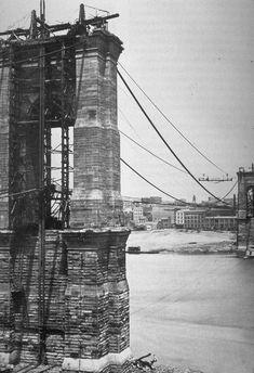 Brooklyn Bridge under construction, 1874