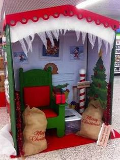 Just Ideas to possibly use in creating a Santa Grotto for School Christmas Grotto Ideas, Christmas Fayre Ideas, Office Christmas Decorations, Christmas Activities, Christmas Photos, Christmas Projects, All Things Christmas, Kids Christmas, Christmas Budget