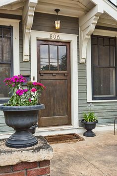 Craftman Front Door - House Tour Love the siding! Cottage Exterior, Exterior Trim, Exterior Doors, Entry Doors, Exterior Design, Corbels Exterior, Black Windows Exterior, Exterior Paint Colors, Exterior House Colors