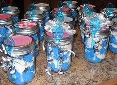 Cake in a Mason Jar! Casual Groom Attire, Casual Grooms, Blue Mason Jars, White Icing, Blue Cakes, Gold Cake, Wedding Guest Book, Wedding Cakes