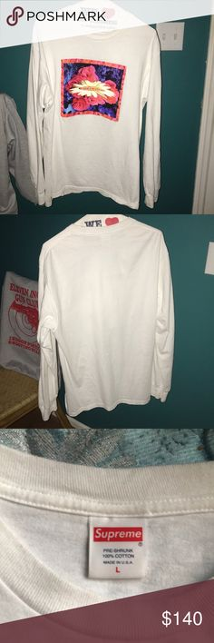 Supreme Bloom white Long Sleeve Shirt Men's Large Long sleeve oversized fit very nice perfect condition size large men's would look good on a girl as well...bought from a store called kicksclusive that sells authentic supreme Supreme Shirts Tees - Long Sleeve