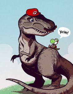 Dino Mario y yoshi Mundo Super Mario, Super Mario Art, Super Mario World, Super Mario Brothers, Yoshi, Mario Fan Art, Desenhos Cartoon Network, Mundo Dos Games, Paper Mario