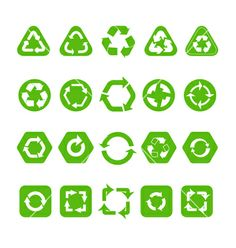 Collection of different recycle icons vector by tovovan on VectorStock®