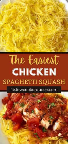This is a super easy Chicken & Spaghetti Squash recipe! All it requires is 5 ingredients and a little bit of time. The texture of the spaghetti squash is amazing. Combined with juicy chicken, diced tomatoes, and seasonings, it's a delicious, comforting dish. It's a great way to get more veggies in your diet, too.