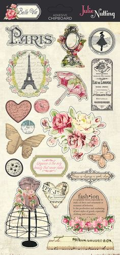 Belle Vie collection by Julie Nutting for Photo Play Paper - chipboard elements Deco Stickers, Journal Stickers, Scrapbook Stickers, Printable Stickers, Printable Planner, Scrapbook Cards, Planner Stickers, Bullet Journal, Book Journal