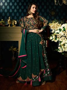 445e8f7088c Buy Malaika Arora Green Georgette Embroidered Anarkali Suit Online for Eid  ul-fitr 2018 Celebration.