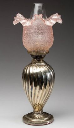 Silver Plated Ribbed Swirl Miniature Lamp