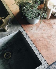 "180 Likes, 10 Comments - Meeniyan, South Gippsland (@rossfarm_dairyconversion) on Instagram: ""handmade concrete sink + tree trunk inset butchers block #onepiece #endgrain #rossfarmcabin"""