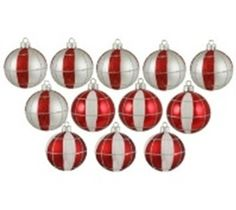 """12ct Peppermint Twist Shatterproof Silver White & Red Striped and Checkered Christmas Ornaments 2.5"""" (60mm)"""